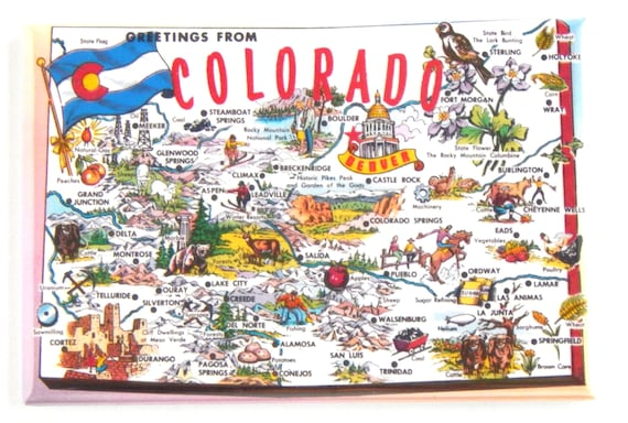 Nw Colorado Map.Greetings From Colorado Map Fridge Magnet Etsy