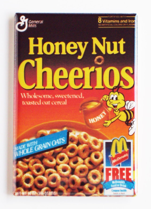 honey nut cheerios cereal box fridge magnet etsy