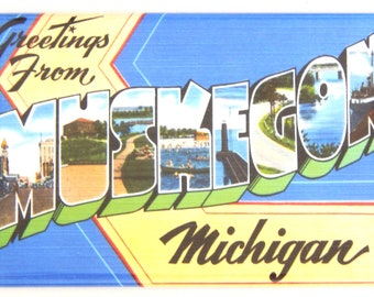 "Greetings from Muskegon Michigan Fridge Magnet ""style B"""