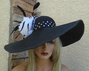 5d1bef80656 black polka dot hat