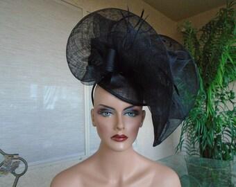 black Kentucky derby hat church hat wedding hat funeral hat 7242a7a722e