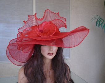 f9be1984f2d Red Kentucky Derby hat