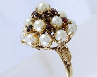 Vintage 1950s Emperor Style Pearl Garnet Ring Yellow Gold January June Birthstone Tracy B Designs Custom Jewelry