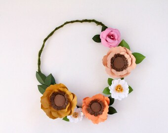 SALE Flower Wreath, Paper Floral Wreath, Modern Wreath, Poppy Wreath
