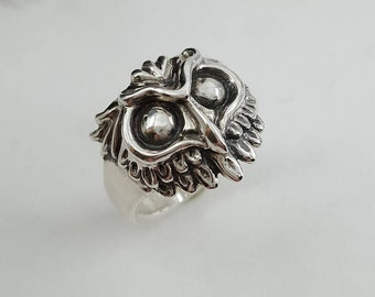 Owl Ring in Sterling Silver, Silver Owl Ring, Horned Owl Ring, Silver Wisdom Ring, Wise Owl Ring, Silver Owl jewelry, owl ring silver