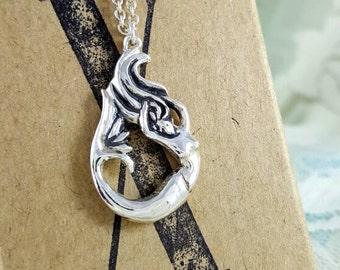 Mermaid necklace in Sterling Silver, silver mermaid necklace, mermaid jewelry silver, silver mermaid jewellery, unique mermaid pendant