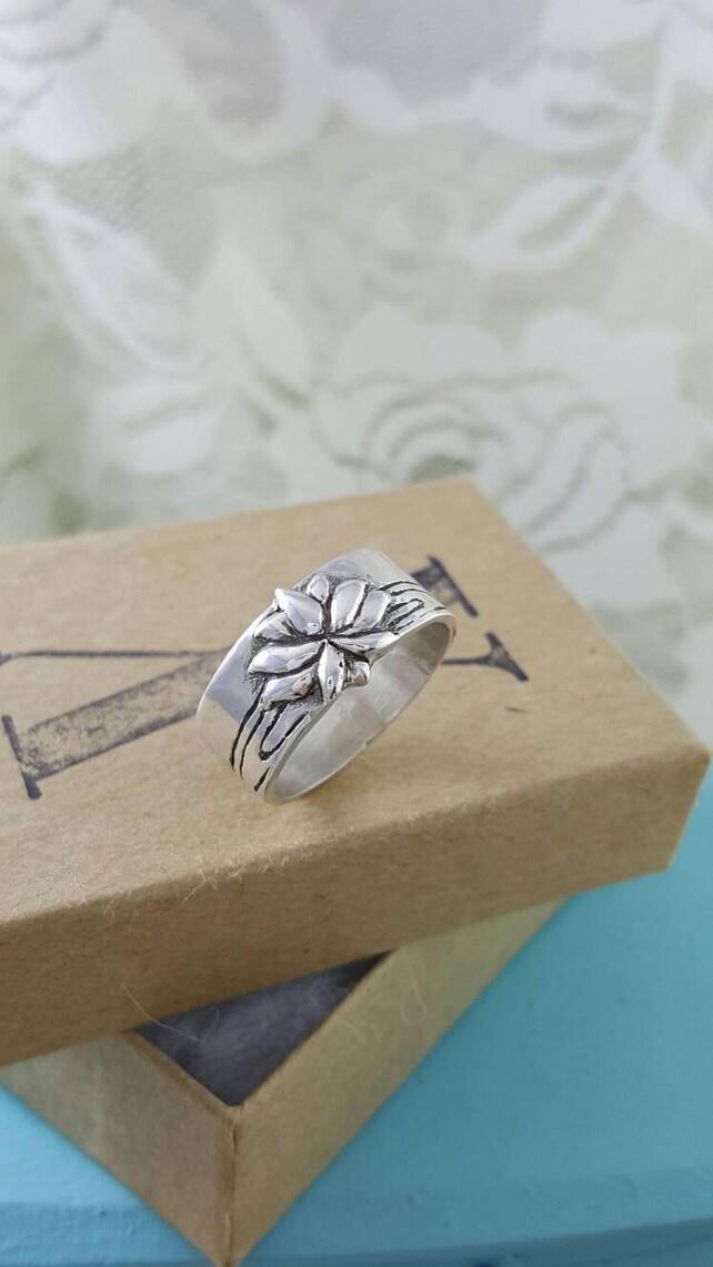 Lotus flower ring in sterling silver silver lotus flower etsy image 0 mightylinksfo