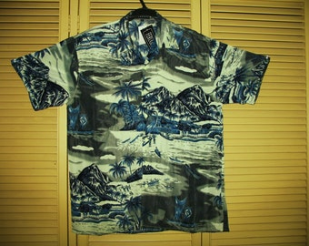 Amazing Vintage Hawaiian Shirt Blue Tropical Islands Size XL Polyester Very Collectible NOS
