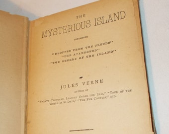 The Mysterious Island Antique Book Jules Verne Contains Dropped From The Clouds The Abandoned The Secret Of Island Classic Science Fiction
