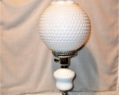 Vintage Hobnail GWTW Table Lamp has a Large Globe Milk Glass Shade and a Marble Base