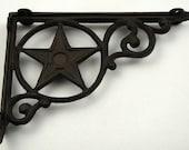 Iron Texas Star Shelf Bracket Star In Circle Cast Iron Shelf Corner Brace Old West Country Decor Primitive Rustic Decor