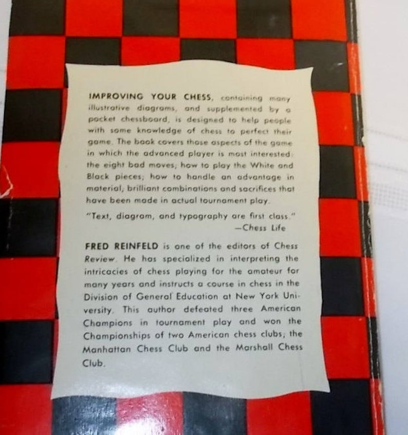 Vintage Chess Board Game Book Improving Your Chess Fred Reinfield Chess  Strategy Reference Guide