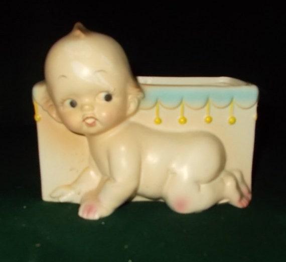 Lefton Kewpie Baby Vase Nursery Whatnot Box Baby Changing Area Etsy