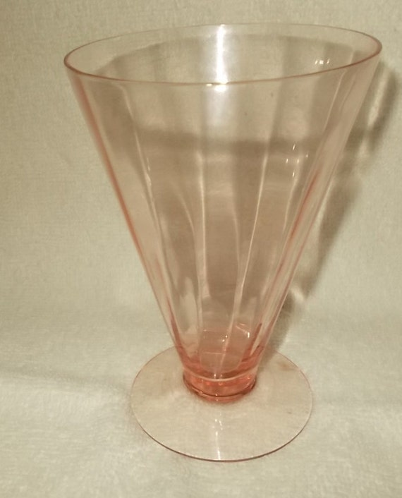 Pink Panel Optic Toasting Glass Tiffen Franciscan Ice Tea