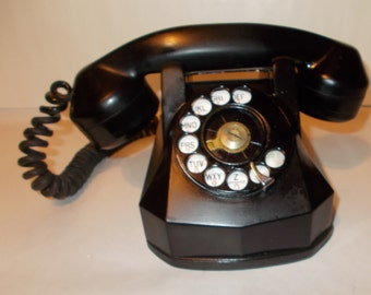 Vintage Monophone Black Office Phone Black Desk Phone Table Phone Rotary Dial Telephone AE 40 Art Deco Monophone Automatic Electric Company