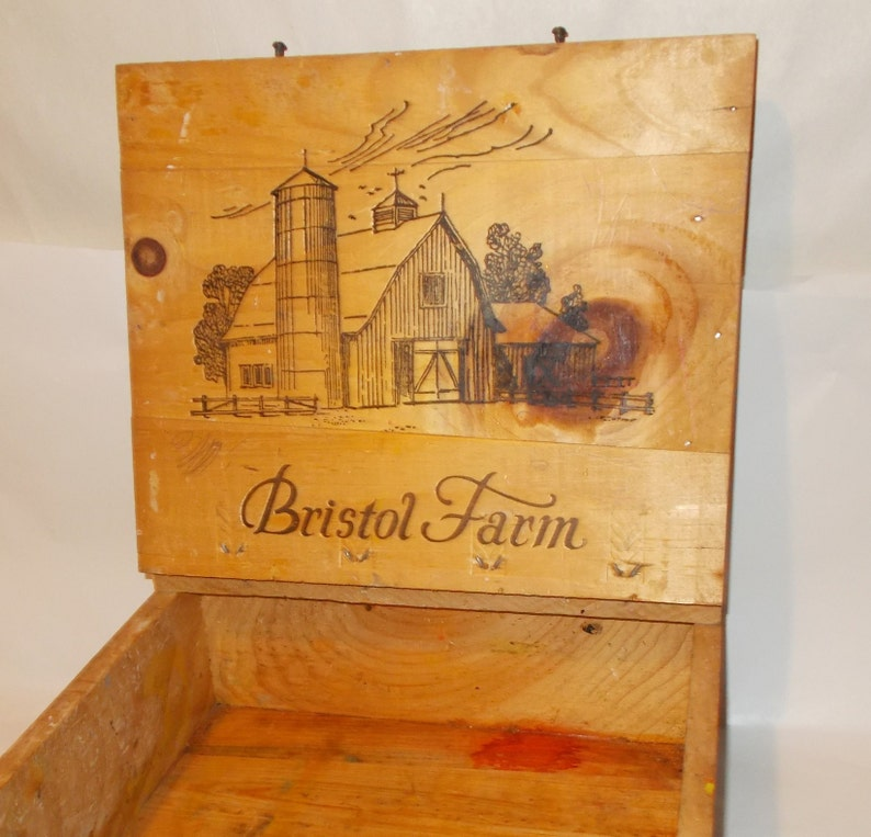 Vintage Wood Box With Hinged Lid Bristol Farm Wooden Case Is A Primitive Country Farmhouse Home Decoration