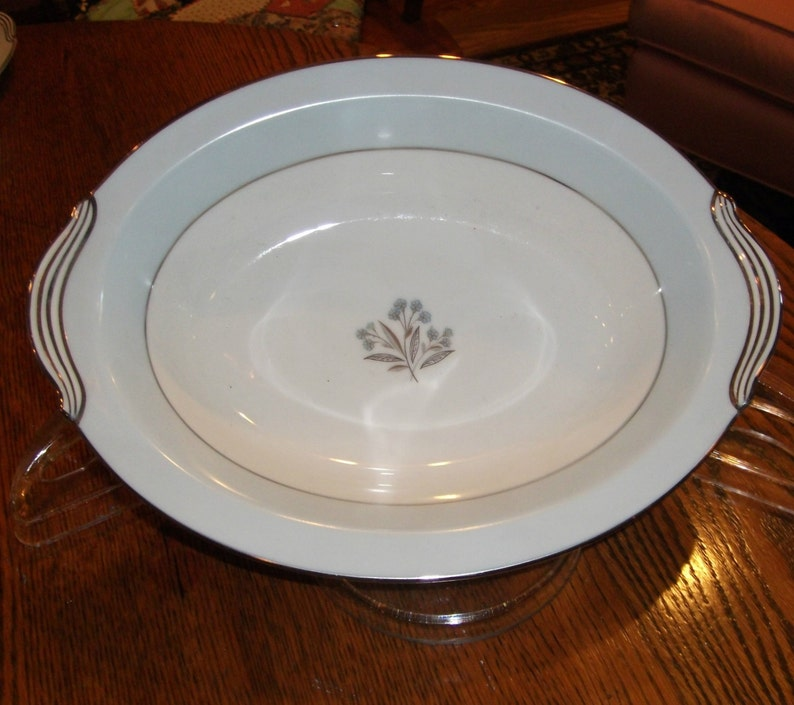 Noritake Mavis Serving Bowl Vintage China Dinnerware Vegetable Bowl Oval Bowl Blue Rim Platinum Trim