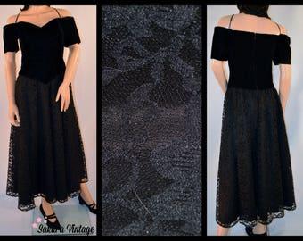 03d7d7c9425 Vintage Dress Size 10 Party Formal Cocktail Taffeta Velvet Off Shoulder  Gown Vintage 80s Witchy Witch Gothic 80s Prom Dress 90s Prom Dress