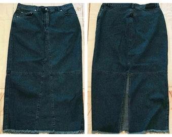 140c7d971a3 Vtg Ralph Lauren Co Jean Denim Skirt Raw Hem Modest Size 14 Maxi Modesty Skirt  Jean Skirt Modest Skirt Modesty Skirt Hippie Skirt Boho Skirt