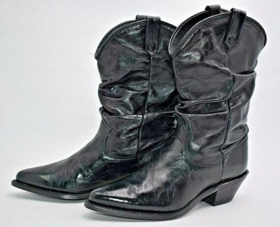 Womens Vintage Dingo Black Leather Slouch Cowboy B