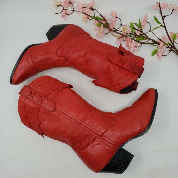 Vintage Laredo Womens Western Boots Red Leather Co