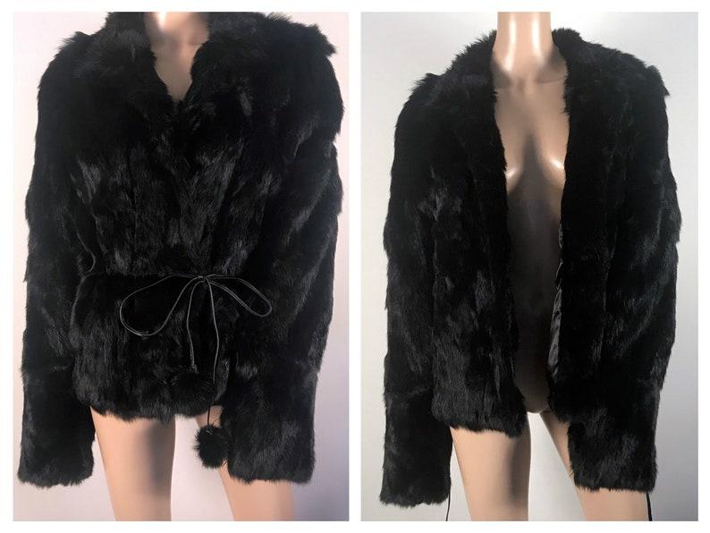 ec870d19f Genuine Vintage Black Rabbit Fur Jacket sz XL Leather Limited Fur Coat Boho  Jacket Hippie Jacket Winter Coat Vintage Coat Vintage Fur