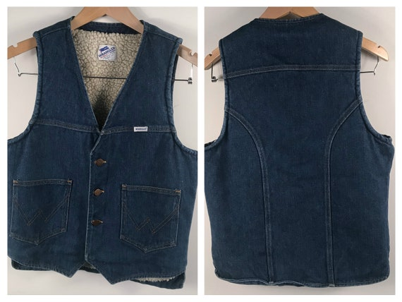 Vintage Wrangler Mens Sherpa Lined Denim Vest Blue