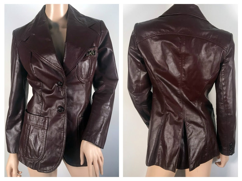 84d9bbb08 Genuine Vintage Oxblood Leather Blazer Jacket sz S M Etienne Aigner Leather  Jacket Burgundy Vintage Jacket Warm Jacket Winter Coat Womens