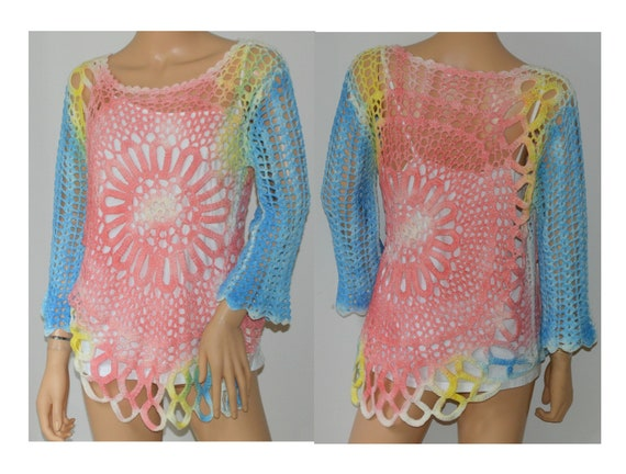 Crocheted Top Long Sleeve Blouse Shirt Multi Color