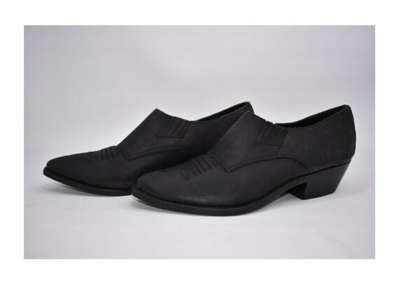 Women's Vintage Cowboy Booties Sz 8.5 D Black Leat