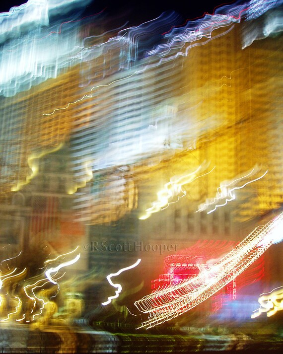 Las Vegas Lights in Motion - Aluminum Print Ready to Hang - FREE Shipping!