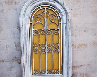 """Arched Wood Window Wall Hanging With Filigree Metal Wires & Yellow Velvet, 23"""" X 13"""" Antiqued Arched Window Frame solid Wood Wall Decor."""