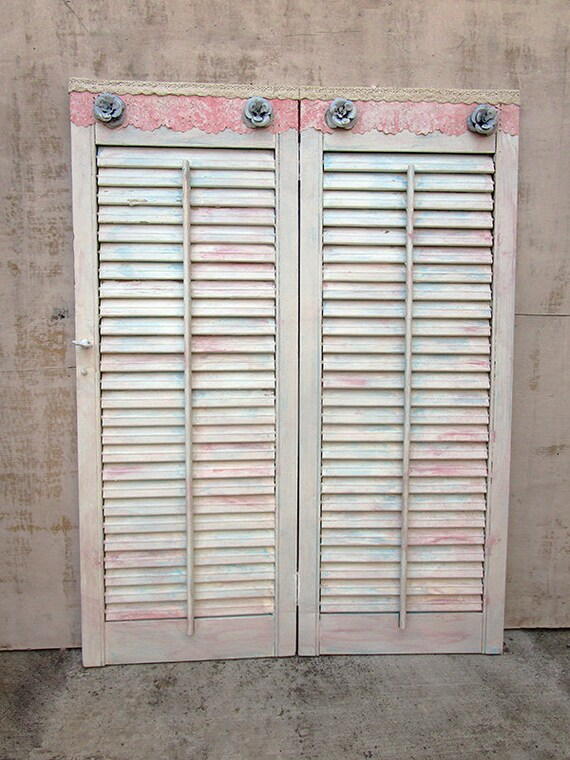 Vintage Wood Shutters Panels Large 32 00 X 24 25 Etsy