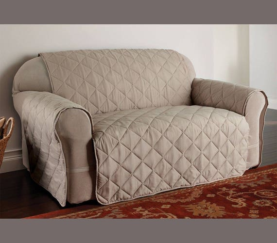 Fabulous Quilted Slip Cover Loveseat Protector In Natural Beige Color Made Of Micro Fiber Protect From Spills Stains Ready To Ship Gmtry Best Dining Table And Chair Ideas Images Gmtryco