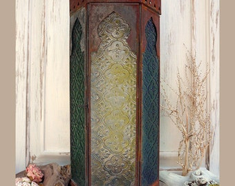 Vintage Arched Lantern Wall Hanging, Tall Metal Glass Porch Lantern, Shabby Chic Lantern W/ Textured colored Glass, Rustic Home Decor.