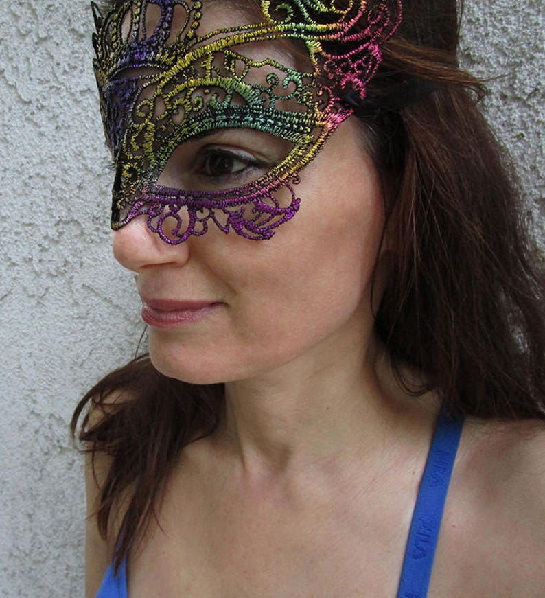 5b42e9189 Rainbow Lace Mask Blindfold Mask With a Crown FREE SHIPPING.