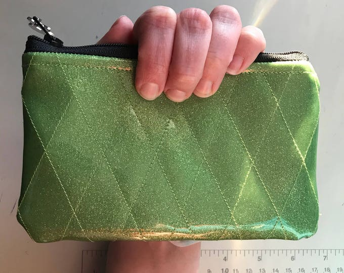 Zippered Pouch - Diamond tufted sparkle vinyl change/coin purse (Lime Green)