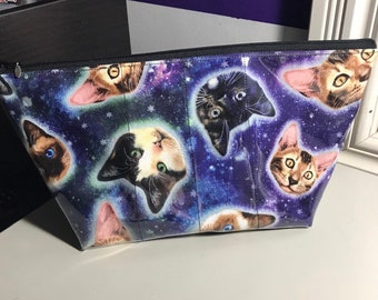 Space Kitty makeup bag with clear vinyl top layer