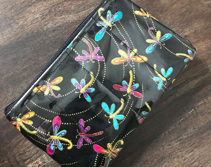 Zippered Pouch -  Metallic dragonfly coin purse/change purse with clear vinyl layer