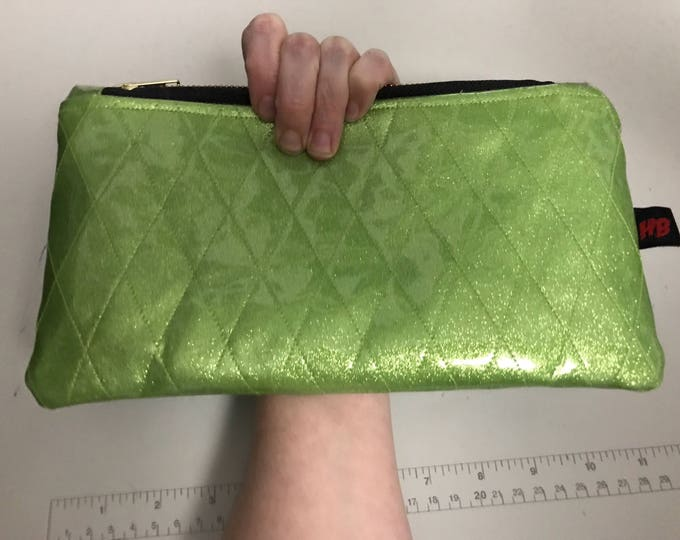 Lime Green Retro Diamond Tufted Sparkle Vinyl Wristlet/Clutch