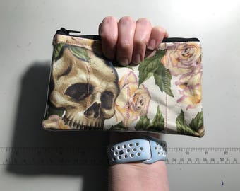 Zippered Pouch - Skull and Roses vinyl coin purse/change purse