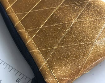Zippered Pouch - Diamond tufted sparkle vinyl coin purse/change purse (Gold)