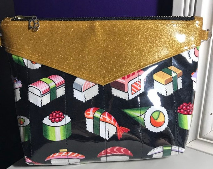 Vegan sushi clutch/crossbody purse with gold sparkle vinyl
