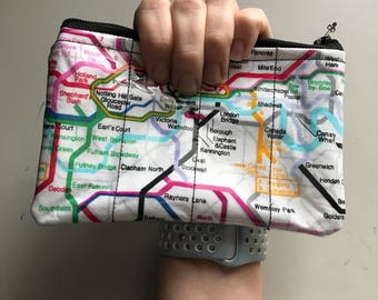 Zippered Pouch - London Underground vinyl coin purse/change purse