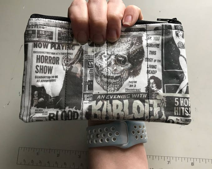 Zippered Pouch - Retro horror movie vinyl coin purse/change purse