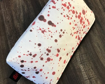 Zippered makeup pouch or diabetic supply bag in a bloody splatter fabric