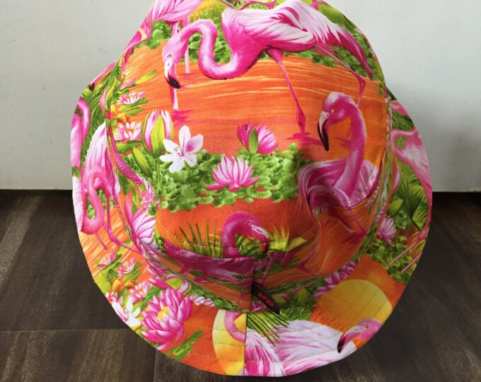 Unisex summer hat/bucket hat in a tropical flamingo sunset fabric (Size Large)