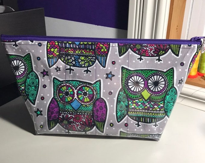Sugar skull owl makeup bag with clear vinyl top layer