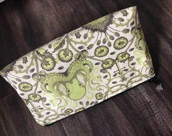 Zippered makeup pouch or diabetic supply bag in a Tula Pink lime octopus fabric