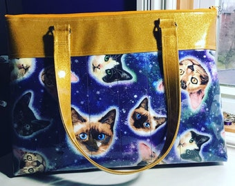 Handmade Space Kitty Purse with Gold Sparkle Vinyl